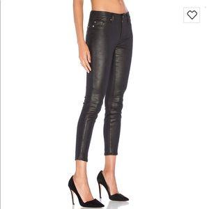 7FAM black shiny skinny jeans size 25